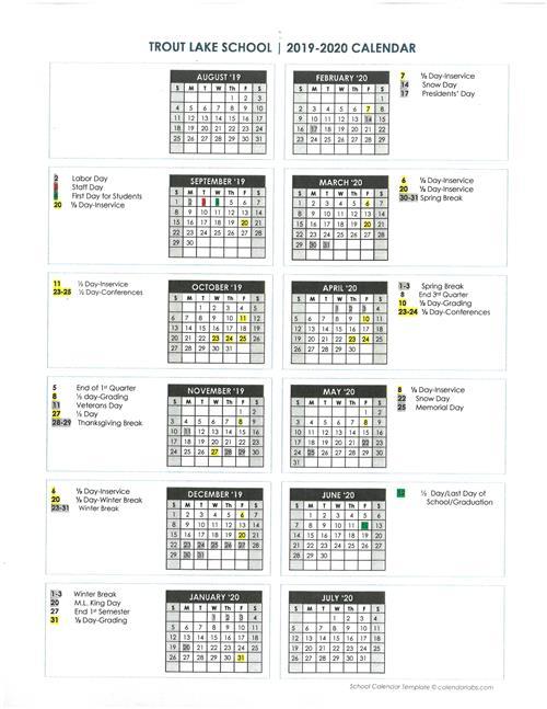 Lake Washington School District Calendar.2019 2020 Calendar